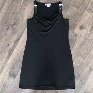 Michel Kors Black Leather Buckle Shift Dress (L)